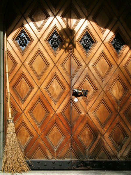 The witch is at home...: Old ornate front door with a