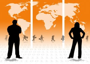 Business Orange: Business people against an orange world map
