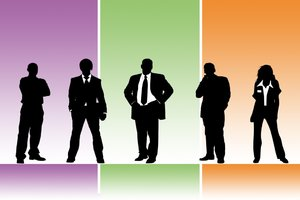 Business Colour: Five business people against a coloured background