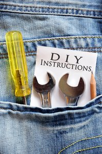 DIY Jeans: Blue denim jeans rear pocket with tools