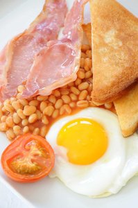 English Breakfast: Traditional high calorie english breakfast