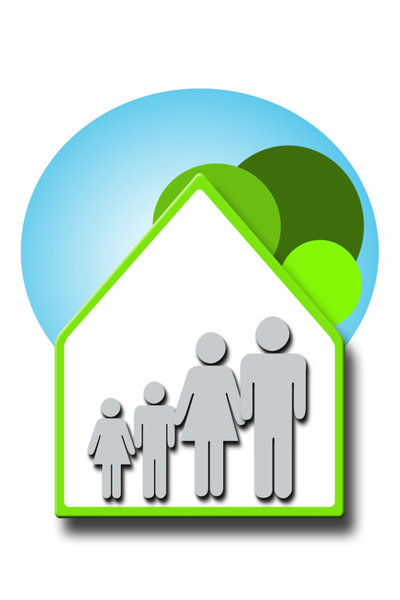 Green Family 2: Green family and house concept illustration
