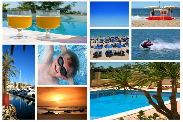 Holiday Postcard: A montage of beach/seaside/vacation images all in one
