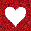 Heart Shapes 1: A border of red coloured elipses around a heart shape, making a pretty background for a card, invitation or valentine.