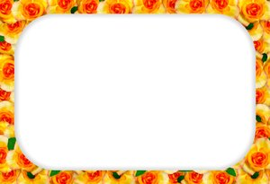 Floral Border  19: Floral border on blank page. Lots of copyspace.