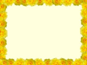 Floral Border  26: Floral border of yellow roses on blank page. Lots of copyspace.