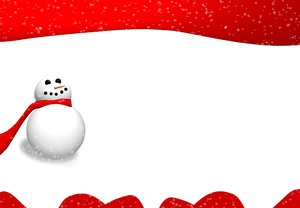 Snowman Graphic: Simple picture of a snowman with a snowy background and plenty of copyspace. Use within image licence or contact me.
