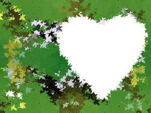 Leafy Heart 4 : A grungy, leafy background with a heart shape.