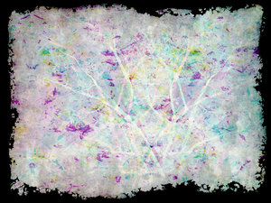 Bright Collage 2: Pastel colours in a marbled texture, grunge effect with a grungy border against a black background..