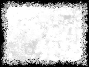 Grungy Leaf Border 5: A black and white stained grunge background framed with leafy edges.