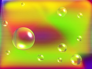 Bubbles: Futuristic background with bubbles. Bright shapes and colours reflected in the spheres.