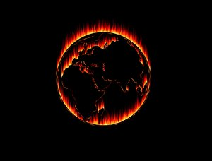 Burning Planet: Burning planet against a black background. Made from a public domain font because I can't draw that well. Creator of the font is Martin Vogel, and I used it for an outline.
