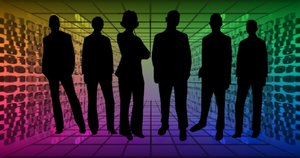 Office Workers: Silhouettes of business people from a free for commercial use site. Tech background.