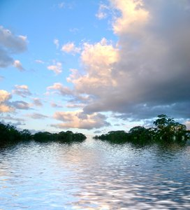 Waterway 1: Beautiful skies reflected in water. Photo and graphic. None of my images may be redistributed.