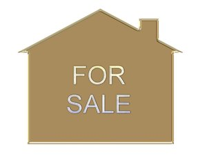 House For Sale: House symbol with a metal effect, and the words,