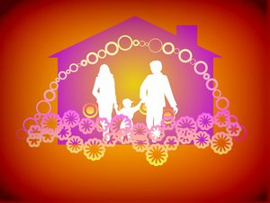 Happy Family Happy Home 4: Silhouettes of a happy family with symbolic decorations and a house shape in the background. None of my images are to be redistributed. Silhouettes from Manfreid Klein - free to use commercially.