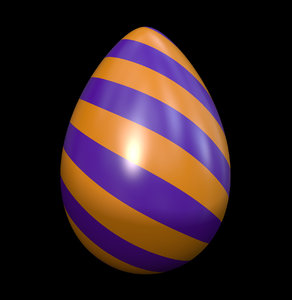 Eggy Time 2: An Easter egg with a colourful pattern in orange and purple against a black background.