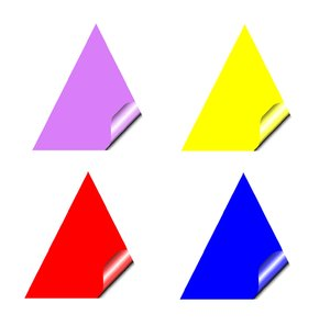 Stickers 4 Triangles: Triangular stickers with a lifted corner, in primary and pastel colours. Copyspace for your pricing, message or announcement. May be used as web buttons.