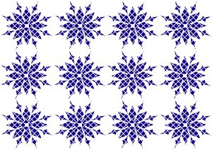 Snowflake Design Pattern 2: Christmas or winter graphic background of blue and white snowflakes.