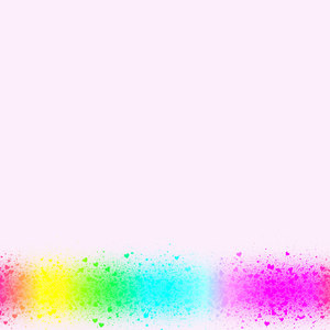 Heart Border 5: A plain white background with a border of tiny multicoloured hearts. This would make a great card, stationery, background or texture.