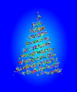 Pretty Snowflake Tree 4: An abstract, fantasy Christmas tree made of baubles and snowflakes against a blue gradient background. Colourful and appealing to the eye. Alternative: http://www.rgbstock.com/photo/2dyVQYr/Abstract+Christmas+Tree
