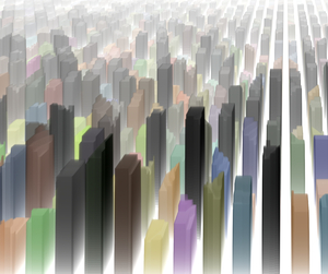 Cityscape 2: Graphic representation of a city with skyscrapers.