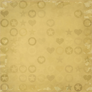 Grungy Stamp Pattern: A grungy backdrop of stamp patterns of stars, circles and hearts, in beige or sepia colours.