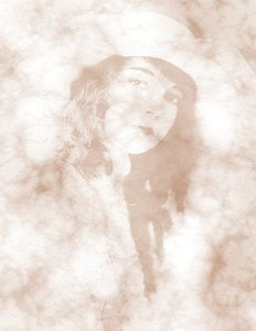 Victorian Girl 1: Variation on a public domain image of a Victorian beauty in faded shades of sepia.
