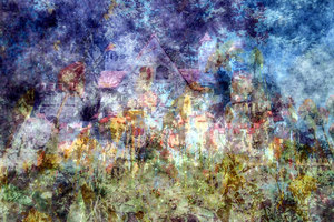 Fairytale Castle 1: An abstract fairytale castle with an impressionistic paint effect. Magical and dreamy colours and shapes.