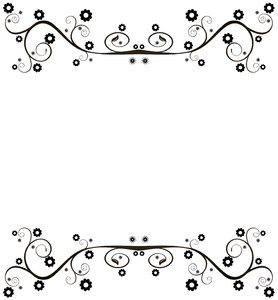 Ornate Floral Border: A flat black ornate swirly border or frame on a white background. You may prefer this:  http://www.rgbstock.com/photo/nXQED7M/Golden+Ornate+Border+6  or this:  http://www.rgbstock.com/photo/nvi0UW8/Golden+Ornate+Border+2