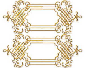 Golden Ornate Border 8: Twin golden ornate borders or frames on a white background. Very elegant and old fashioned in a classic style. Made from a public domain image. You may prefer this:  http://www.rgbstock.com/photo/nXK186c/Golden+Ornate+Border+5  or this:  http://www.rgbsto