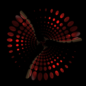 Graphic Burst on Black 3: A graphic burst or swirl against a black background.