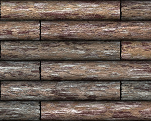 Log Cabin Wall 1: A graphic of a section of a log cabin or other structure made of logs, in high resolution,