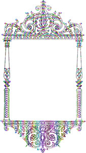Coloured Victorian Frame: A Victorian frame in rainbow colours. Made from a vintage public domain image. You may prefer:  http://www.rgbstock.com/photo/oe6frK0/Wood+Branded+Tile+1  or:  http://www.rgbstock.com/photo/nTCGQ2G/Victorian+Border