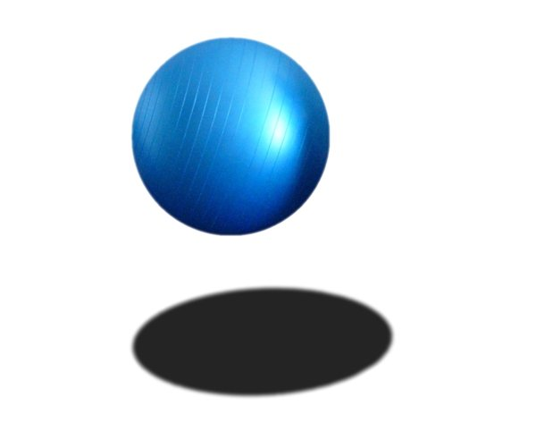 Blue Ball: A bouncing, floating, suspended, hovering blue ball.
