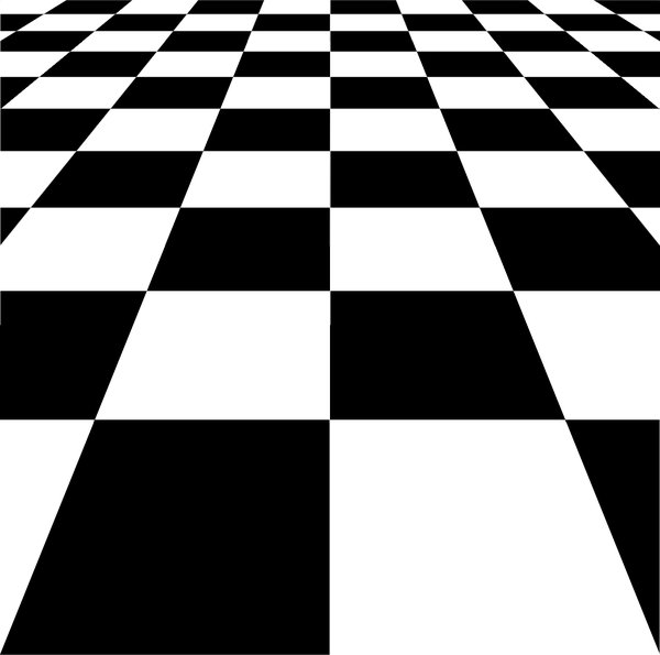 Checkerboard / Chequerboard 1: A graphic checkerboard/chequerboard- /chessboard fading to infinity. Very representative and can be used to illustrate many things.