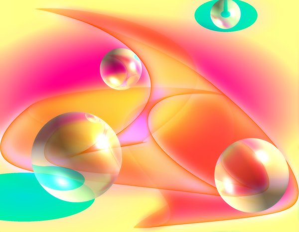 Spheres on Abstract Background: Futuristic background. Bright spheres and colours. Could represent space, planets.