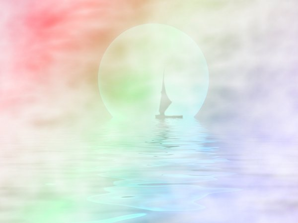 Sailor Moon Variation: Silhouette of a sailboat on misty water with a large moon in the background.