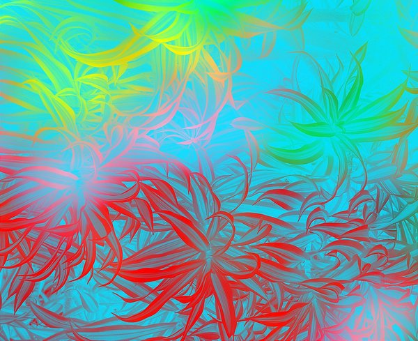 Vivid Abstract Background 3: Leaf shapes in multicoloured backgrounds. Rainbow hues.