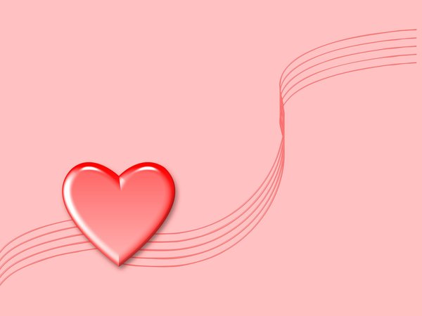 Valentine Heart 2: Valentine heart on a pink background with swirls. Could be used for engagement or wedding stationery, or anniversary wishes, etc.
