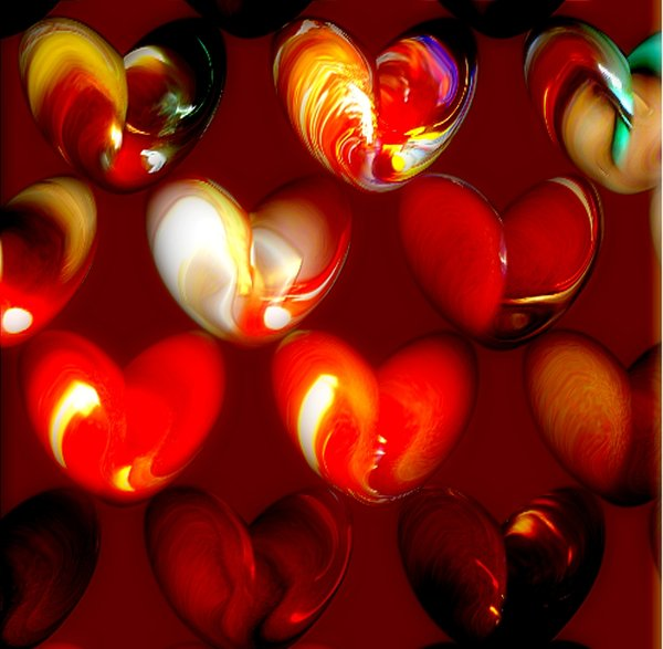Abstract - Hearts of Glass: A pattern of multi-coloured glass hearts.