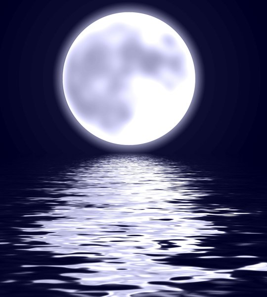 Romantic Moon: Romantic graphic of a moon over water.