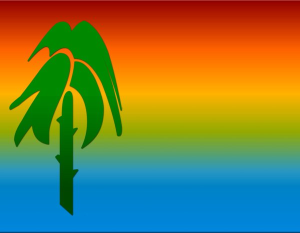 Palm Tree Graphic: Stylised palm tree and tropical colours.