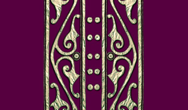 Old Book Cover 2: Ancient patterns in metal on the outside of book covers in Maroon, purple and black. May be suitable for diary covers, etc.