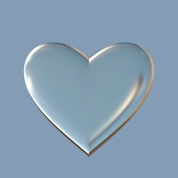 Heart A: A basic 3D glass or metallic heart suitable for a texture, background, backdrop or fill, a birthday card or wrapping, anniversary, wedding, or valentine.