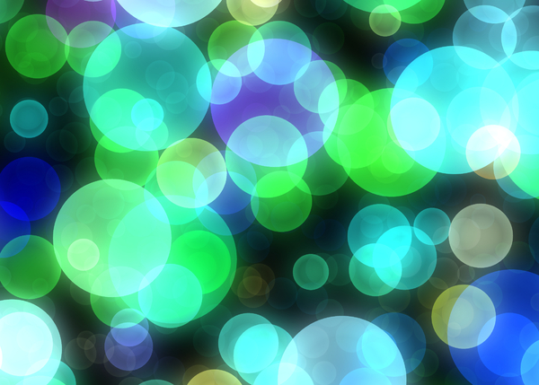 Bokeh or Blurred Lights 9: Bokeh, or blurred background lights in aqua, purple, green, blue, white and black. Suitable for a background, Christmas greetings, holiday greetings, texture, or fill.