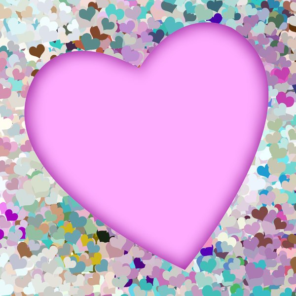 Painted Hearts: A beautiful pink painted heart against a background of small multicoloured hearts.