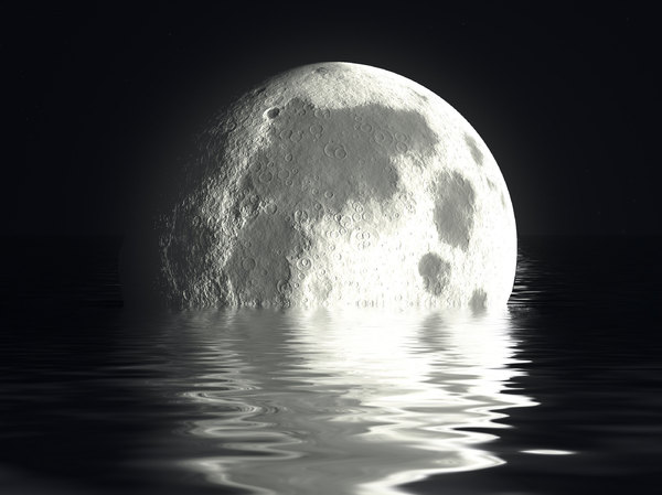 Moon and Water 1: A giant moon that seems to be sinking into the water.
