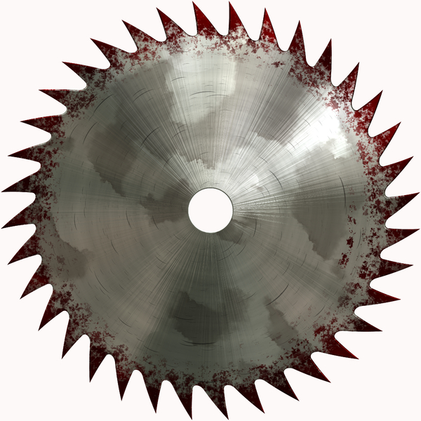 Saw Blade: A circular saw blade with discolouration on the edges and stains and scratches. Useful industrial graphic or element.