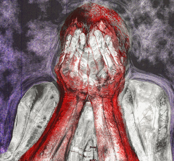 Victim: A man covering his face with his hands. The red colouring could represent blood. A sketchy, dark, grunge effect. Could lillustrate psychiatric illness, torture, victimisation, road trauma, despair,  etc. You may prefe  http://www.rgbstock.com/photo/oSqzLmi/Crying+Child+1
